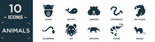 Filled Animals Icon Set. Contain Flat Alpaca, Big Fish, Hamster, Copperhead, Big Toucan, Blindworm, Rat, Anteater, Prawn, Weasel Icons In Editable Format..