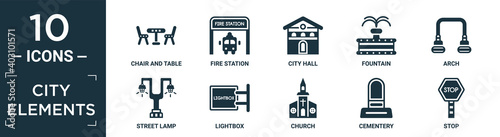 filled city elements icon set. contain flat chair and table, fire station, city hall, fountain, arch, street lamp, lightbox, church, cementery, stop icons in editable format..
