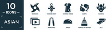 Filled Asian Icon Set. Contain Flat Shuriken, Chinese Knot, Chinese Dress, Carps, Hannya, Dizi, Nunchaku, Jiaozi, Temple Of Heaven, Silk Icons In Editable Format..