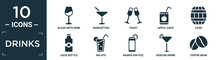 Filled Drinks Icon Set. Contain Flat Glass With Wine, Manhattan, Toast, Apple Juice, Cask, Juice Bottle, Mojito, Ramos Gin Fizz, Sidecar Drink, Coffee Bean Icons In Editable Format..