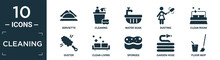 Filled Cleaning Icon Set. Contain Flat Serviette, Cleaning, Water Soak, Dusting, Clean Room, Duster, Clean-living, Sponges, Garden Hose, Floor Mop Icons In Editable Format..