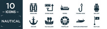 Filled Nautical Icon Set. Contain Flat Aqualung, Diving Mask, Vessel, Fishing Hook, Ballast, Anchor, Old Galleon, Propeller, Roofless Speed Boat, Sea Flag Icons In Editable Format..