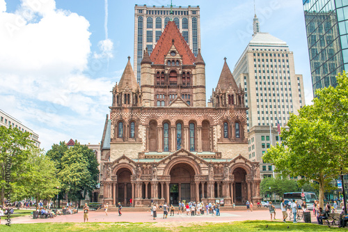 Fotografering Trinitiy Church in the City of Boston Massachusetts USA