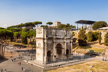 Top View On Triumphal Arch Of Constantine (4th Century), Rome, Italy