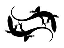 Lizard Silhouette Stock Vector Illustration. Icon, Logo, Symbol.