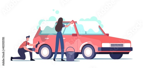 Car Wash Service Concept. Cleaning Company Employees Male Female Characters Work Process. Couple of Workers in Uniform