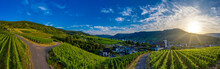 Panoramic View Of The Municipality Of Bruttig-Fankel And The Vineyards On The Moselle, Germany.  Drone Photography.