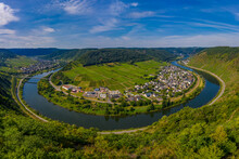 Panoramic View Of The Loop Of The Moselle Near Bruttig Near Cochem, Germany.