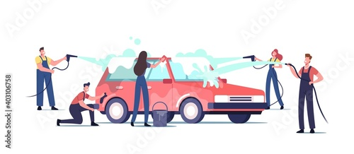 Car Wash Service Concept. Workers Characters Wearing Uniform Lathering Automobile with Sponge and Pouring with Water