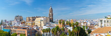 Panoramic View Of Big City, The Cathedral Of Malaga, Church Of St. Augustine. Costa Del Sol. Malaga. Andalusia. Spain.