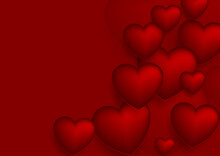 Dark Red Hearts Abstract Background. Valentines Day Greeting Card Vector Design