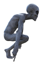 Illustration Of An Alien Squatting On A White Background.