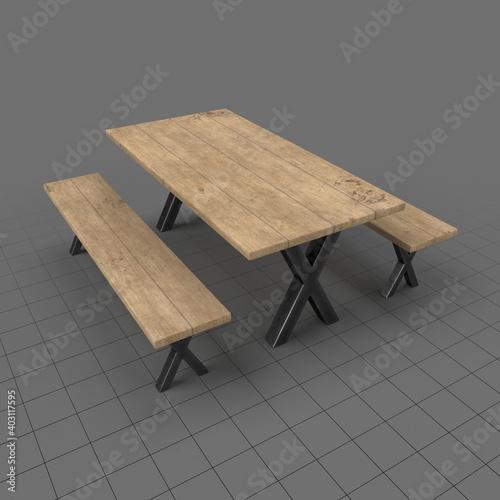 Obraz Rustic outdoor table - fototapety do salonu