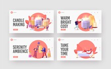 People Making Aroma Candles For Home Decor Landing Page Template Set. Tiny Characters Create Huge Candles Using Herbs