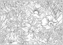 Floral Seamless Pattern, Background With In Art Nouveau Style, Vintage, Old, Retro Style. Outline Vector Illustration. Coloring Page For The Adult Coloring Book. .