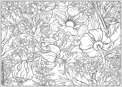 Fototapeta Floral Seamless pattern, background with In art nouveau style, vintage, old, retro style
