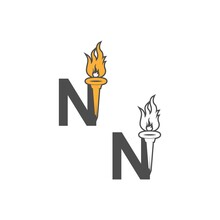 Letter N Icon Logo Combined With Torch Icon Design