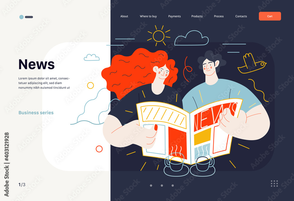 Fototapeta Business topics - news, web template, header. Flat style modern outlined vector concept illustration. A couple, man and woman reading a newspaper together. Business metaphor.