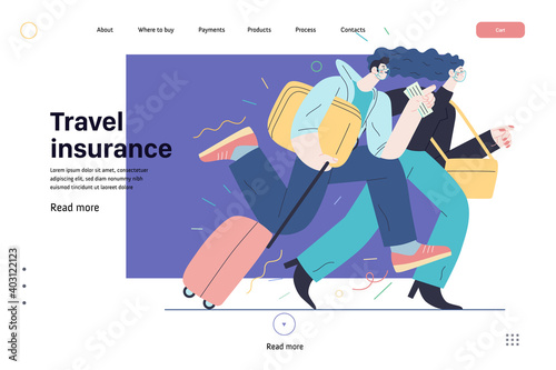 Obraz Travel insurance -medical insurance web page template -modern flat vector concept digital illustration - harrying young couple running with suitcases in the airport rush - fototapety do salonu