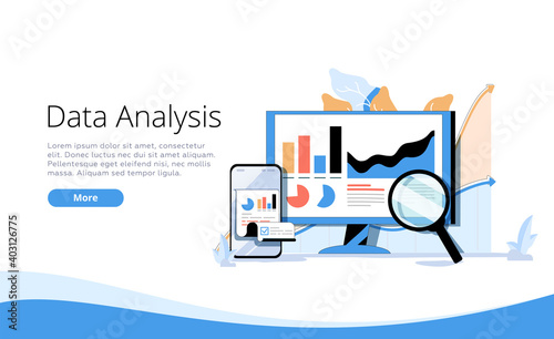 Landing page template with man and woman with magnifying glass analyzing diagrams and graphs. Concept of statistical.