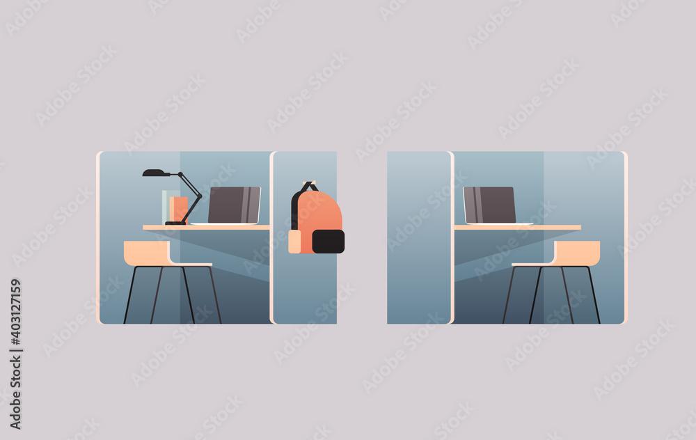 Fototapeta office interior furniture elements horizontal flat vector illustration
