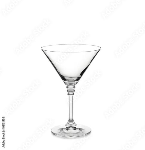 Obraz Empty clear martini glass isolated on white - fototapety do salonu