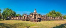 Panorama Of Prasat Hin Phanom Wan Historical Park, Nakhon Ratchasima, Thailand. Built From Sandstone In Ancient Khmer Times