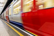 Train In Motion Blur At The London Underground