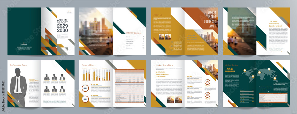 Fototapeta Corporate business presentation guide brochure template, Annual report, 16 page minimalist flat geometric business brochure design template, A4 size.