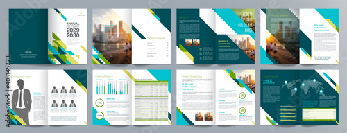 Fototapeta Corporate business presentation guide brochure template, Annual report, 16 page minimalist flat geometric business brochure design template, A4 size