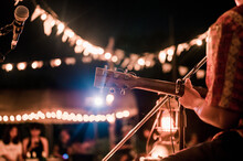 Musicians Playing Guitar At Music Festivals, Lights,  Music, Concerts, Mini Concerts. Music Festivals