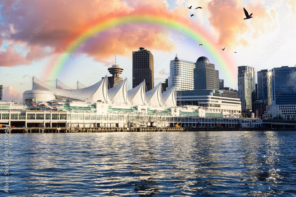 Fototapeta Canada Place and commercial buildings in Downtown Vancouver Viewed from water. Modern Architecture in Urban City on West Coast of British Columbia, Canada. Sunset Sky Art Render with Rainbow
