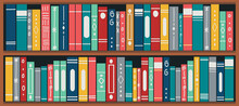 Bookshelf With Books. Set Of Different Book Spines On Wooden Shelves. Book Banner. Vector Illustration.