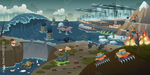Stampa su Tela Ecology pollution, deforestation, forest fire, nature deforestation global problem