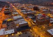 canvas print picture - Aerial View of Christmas Lights in Rapid City, South Dakota at Dusk
