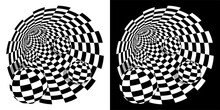 Abstract Black White Checkerboard Tunnel With Balls Inside. Round Wormhole, Path Into Unknown. Scientific Research And Travel. Vector