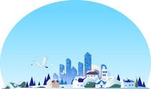 冬の街並みと白鳥の飛ぶ青空