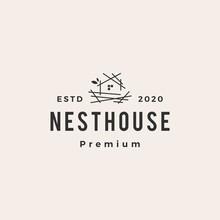Nest House Hipster Vintage Logo Vector Icon Illustration