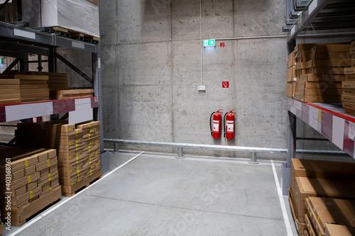 Obraz Fire extinguishers in the warehouse. Fire safety - fototapety do salonu