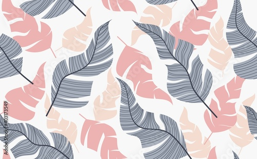 Foto Seamless pattern with abstract flowers and leave