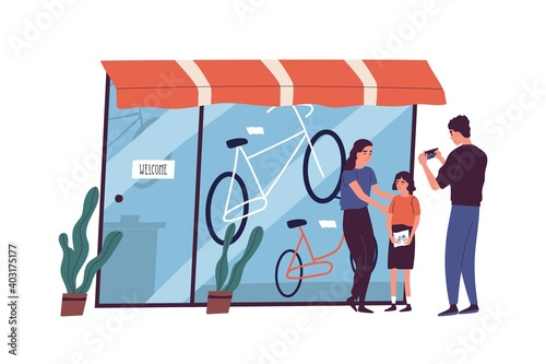 Obraz Poor family have no money to buy bike to child vector flat illustration. Sad father looking at empty wallet standing near store showcase isolated. Poverty and financial crisis - fototapety do salonu