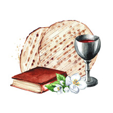 Red Kosher Wine In The Silver Glass, Traditional Jewish Book Haggadah And Matzah Or Matza. Passover Seder Meal. Pesach. Watercolor Hand Drawn Illustration Isolated On White Background