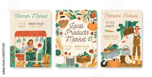Tableau sur Toile Collection of local products farmer market and harvest festival posters vector flat illustration