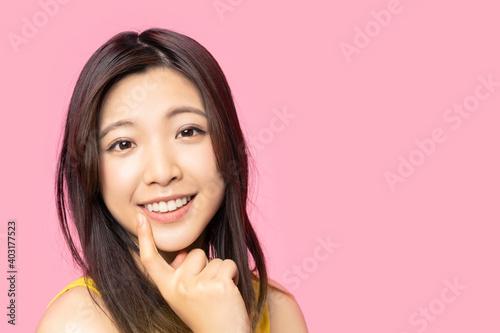 Fototapeta 女性のデンタルケアイメージ 白い歯 オーラルケア obraz