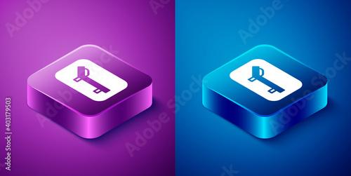 Billede på lærred Isometric Sunbed icon isolated on blue and purple background
