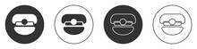 Black Captain Hat Icon Isolated On White Background. Circle Button. Vector.