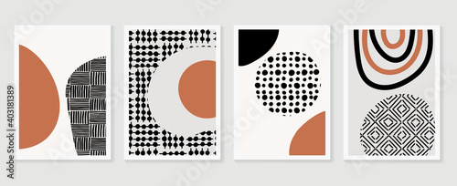 Obraz Abstract wall arts vector collection.  Black and white organic shape Art brush design for wall framed prints, canvas prints, poster, home decor, cover, wallpaper. Vector illustration - fototapety do salonu