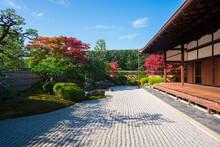 京都 大徳寺の塔頭寺院 興臨院の枯山水庭園と紅葉