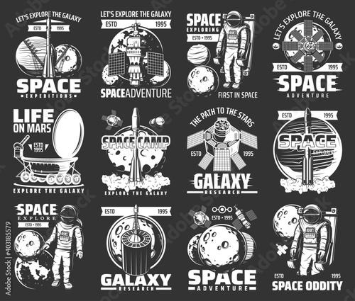 Canvas Outer space explore monochrome vector icons