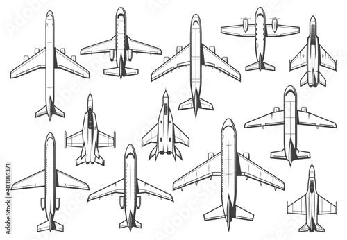 Obraz na plátne Modern civil and military aircraft set